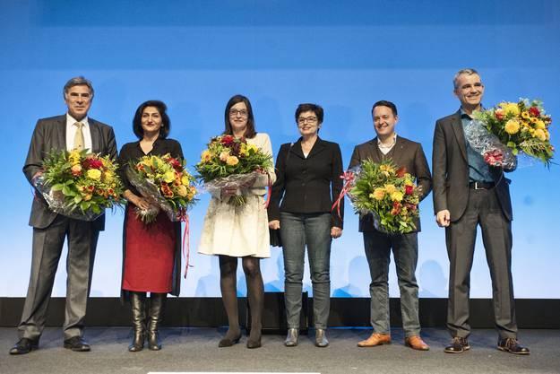 Nationalrat Christoph Eymann (LDP), Nationalrätin Sibel Arslan (GB), Nationalrätin Silvia Schenker (SP), Ständerätin Anita Fetz (SP), Nationalrat Sebastian Frehner (SVP) und Nationalrat Beat Jans (SP)