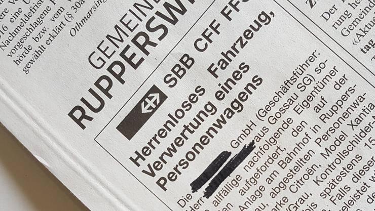 Anzeige herrenloses Fahrzeug Rupperswil