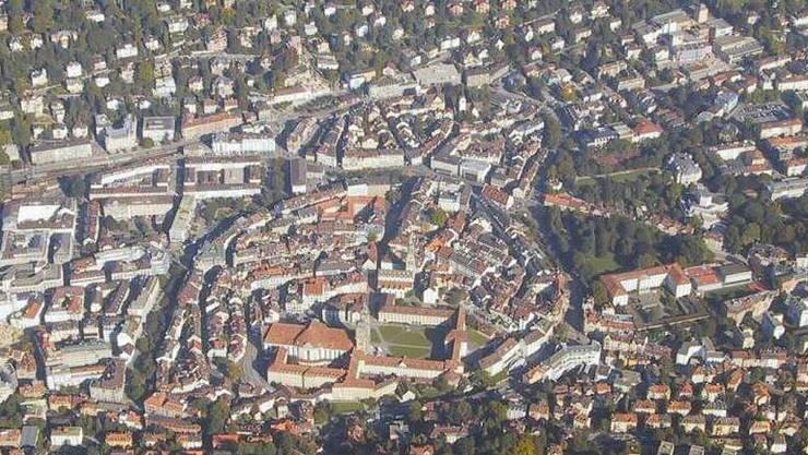 Das Zentrum von St. Gallen aus der Luft.