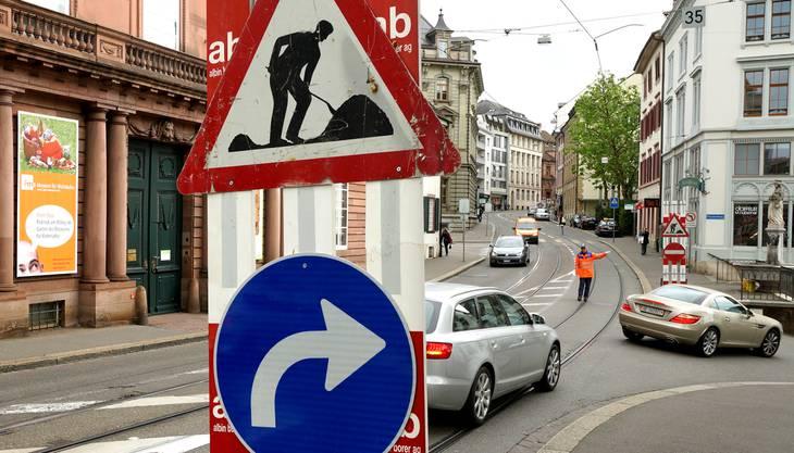 Autos und Motorräder können die Elisabethenstrasse nur noch in Fahrtrichtung Bankverein befahren. Richtung Bahnhof ist die Strasse gesperrt: Autos müssen über die Dufourstrasse und den Aeschengraben oder den Klosterberg ausweichen. Velofahrer werden über die Henric Petri-Strasse, das Hirschgässlein, die Hermann Kinkelin-Strasse, den Aeschengraben und die De-Wette Strasse umgeleitet. Die Tramlinien 1 und 2 fahren bis zum 6. Juli 2014 normal. Die Haltestelle Kirschgarten in Fahrtrichtung Bahnhof SBB wird am 19. Mai 2014 zum Pyramidenplatz neben der Elisabethenkirche verschoben. In der zweiten Phase der Bauarbeiten vom 7. Juli bis 31. August 2014 wird der Trambetrieb wegen des Neubaus der Gleis- und Fahrleitungen eingestellt. Die Tramlinie 2 fährt vom Bahnhof SBB via Aeschenplatz und Bankverein zur Wettsteinbrücke und umgekehrt. Die Tramlinie 1 wendet am Bahnhof. Anwohner haben jederzeit Zugang zu ihren Liegenschaften an der Elisabethenstrasse. Fussgänger können die Strasse weiterhin begehen, jedoch in einem Abschnitt neben dem Trottoir.
