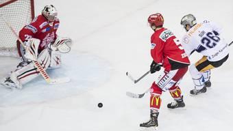 Die Amateur-Schweizermeister Remo Öhninger (links), Tiomn Zuber (Tor) und der EHC Winterthur werden künftig in der NLB spielen.