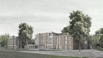 Das Siegerprojekt «Margerite» sieht diesen Neubau für das Alterszentrum Würenlos auf der Zentrumswiese vor.Visualisierung: zVg