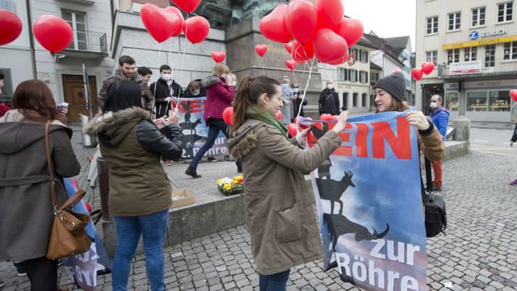 Jugendliche sehen in der Digitalisierung grosse Chancen für die politische Beteiligung. Im Bild protestieren Junge noch auf der Strasse gegen einen zweiten Gotthardtunnel. (Archivbild)