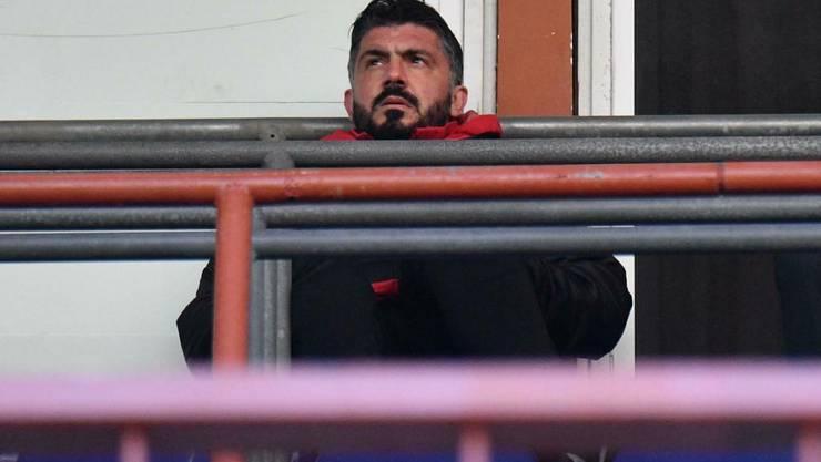 Milans Trainer Gennaro Gattuso sass gegen Genoa eine Sperre ab