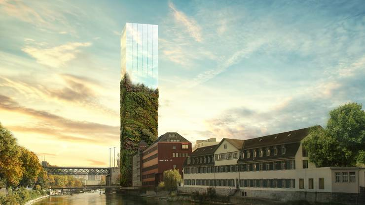 Gestaltungsvorschlag von Studio Forma Architects mit halb begrünter und halb verspiegelter Fassade. zvg