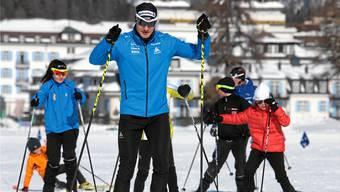 Dario Cologna am Schnuppertag vor dem Engadin Skimarathon.