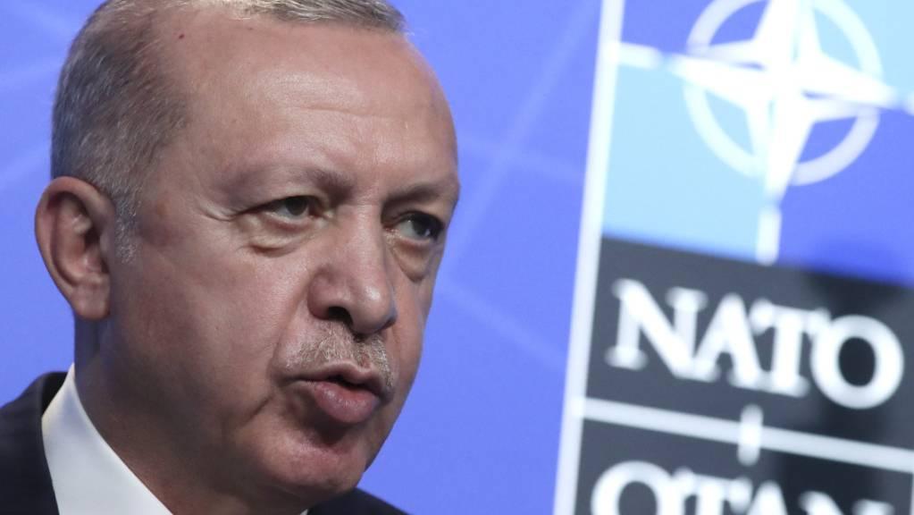 Der Präsident der Türkei Recep Tayyip Erdogan spricht auf einer Pressekonferenz während des Nato-Gipfels. Foto: Yves Herman/Pool Reuters/AP/dpa