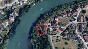 Das Regenbecken ist geplant an der Aare in der Nähe des Schlössli Altenburg, in dem sich die Jugendherberge befindet. Google Maps