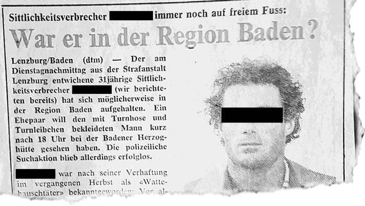 Der «Chloroform-Unhold» im «Badener Tagblatt» am 19. Juni 1980.