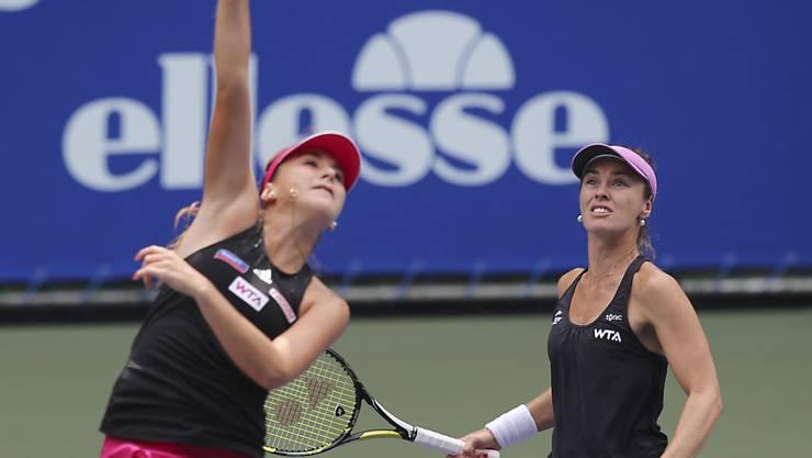 Für Belinda Bencic (links) und Martina Hingis bedeutete die 1. Doppel-Runde in St. Petersburg bereits Endstation