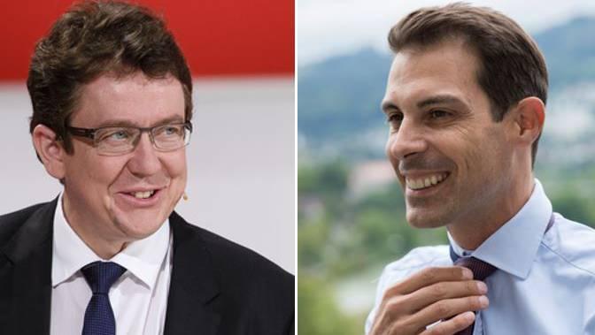 SVP-Präsident Albert Rösti und der Aargauer Ständeratskandidat Thierry Burkart (FDP).