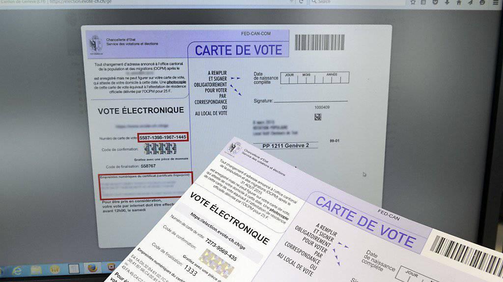 In Basel können im Juni erstmals in der Schweiz Menschen mit Behinderung elektronisch abstimmen. Im Bild elektronische Wahlunterlagen aus dem Kanton Genf. (Archivbild)