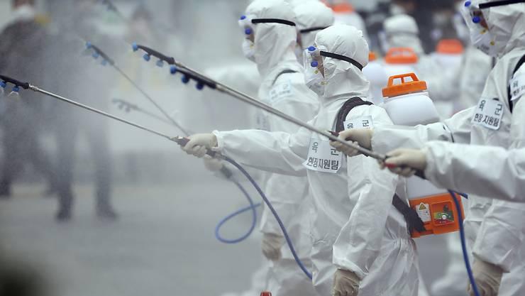So weit geht man in der Schweiz (noch) nicht: Die südkoreanische Armee setzt Sprühgeräte ein als Mittel gegen Coronaviren.