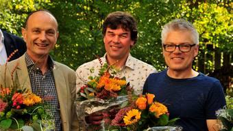 Zukunft-Suhr-Gemeinderäte (v.l.): Marco Genoni (bisher, neu als Präsident), Thomas Baumann (bisher), Oliver Krähenbühl (neu).