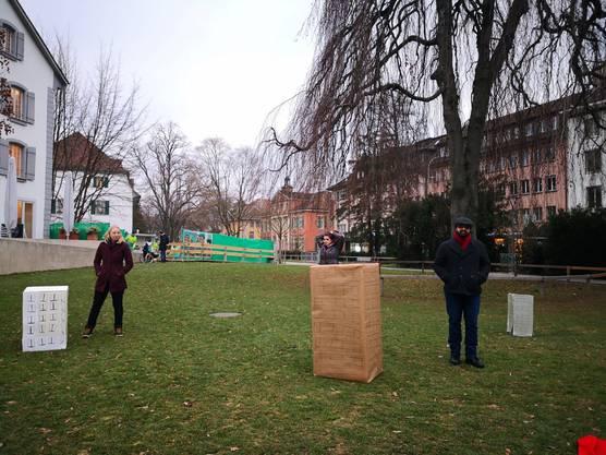 Sie sind für die Initiative: Mitglieder der Juso, die in Aarau mit Kartonschachteln für mehr verdichtetes Bauen werben.