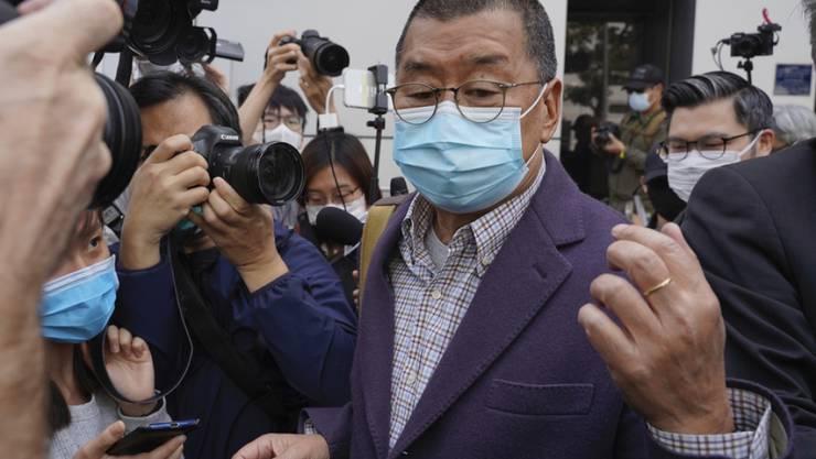 """Der Gründer der Hongkonger Zeitung """"Apple Daily"""", Jimmy Lai, war bereits im Februar festgenommen worden. (Archivbild)"""