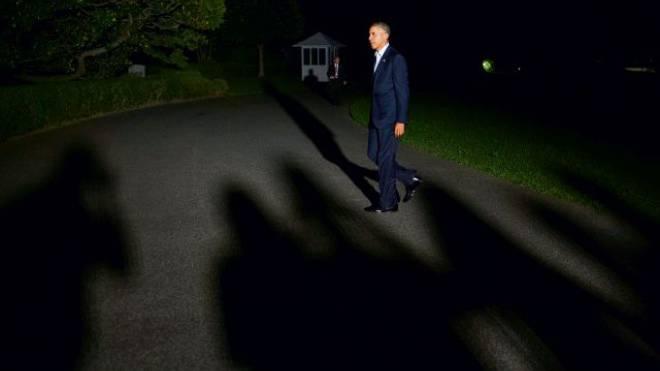 Barak Obama bei seiner Rückkehr in Washington nach dem Nato-Gipfel in Wales. Foto: Keystone