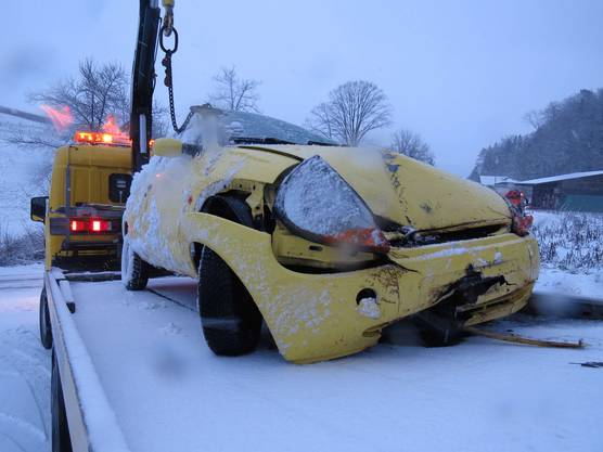 Dieser Wagen fiel eine Böschung hinab.