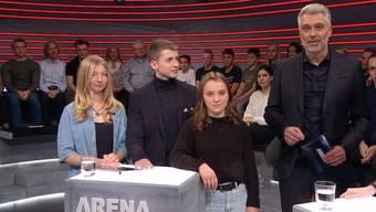 Machten die «Arena» unsicher (v. l. n. r.): Laurine Frauchiger, Jonas Lüthy und Aneschka Berchtold.
