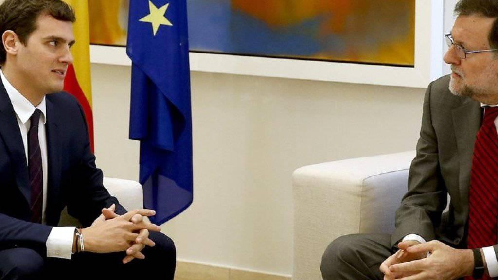 Mariano Rajoy (rechts) und Albert Rivera am Montag bei ihrem Treffen in Madrid.
