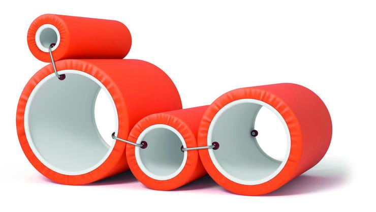 Die Röhren sind mit Polyurethanschaum gepolstert und können mithilfe von Klemmen auf verschiedene Weise kombiniert werden.
