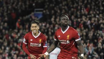 Sadio Mané und Roberto Firmino kommen mit Liverpool in der Champions League gar nicht aus dem Jubeln heraus