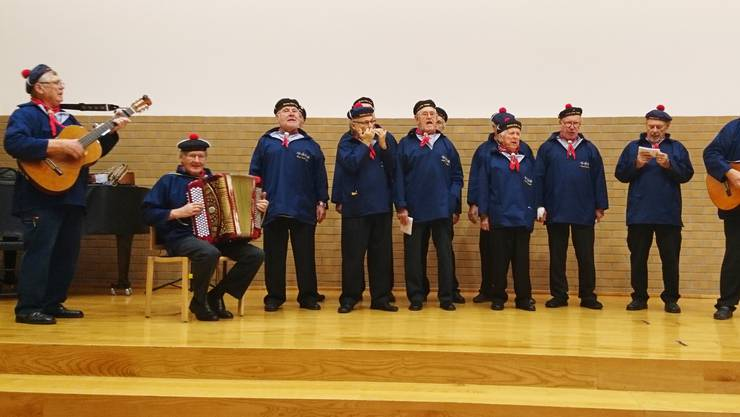Die Seeleute des Shanty-Chor Horgen auf der Bühne des Gemeinderatsaals.