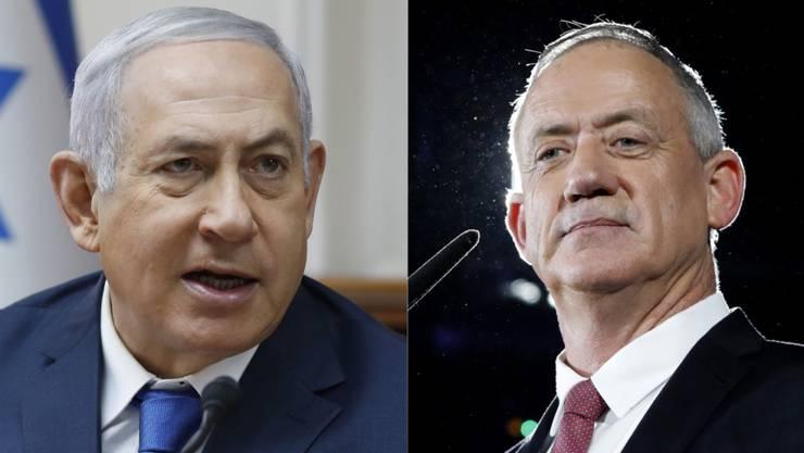 Beide könnten Regierungschef werden: der amtierende Benjamin Netanjahu (links), zwar mit weniger Stimmen für ihn selbst, aber mit den grösseren Chancen, eine tragfähige Koalition zu bilden - oder Herausforderer Benny Gantz.