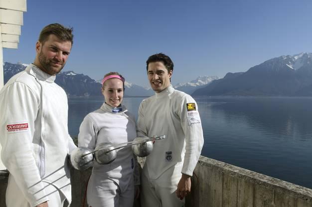 Die drei Musketiere von der Fechtgesellschaft Basel: Benjamin Steffen, Laura Stähli und Max Heinzer.