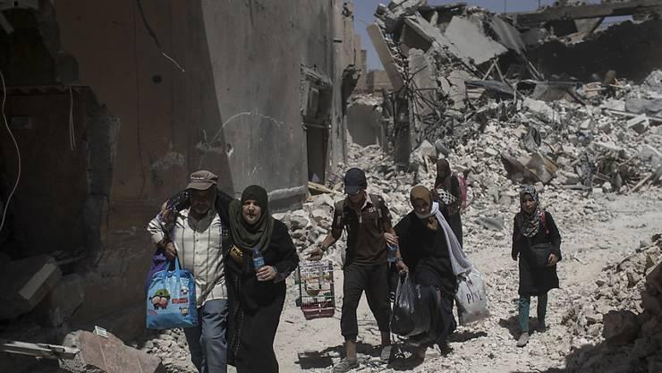 Auf der Flucht vor Kämpfen in Mossuls Altstadt