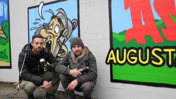 Angelo «Tool8» Schreiber (l.) und Manuel «Niro» Giger haben die Graffitis gesprayt.