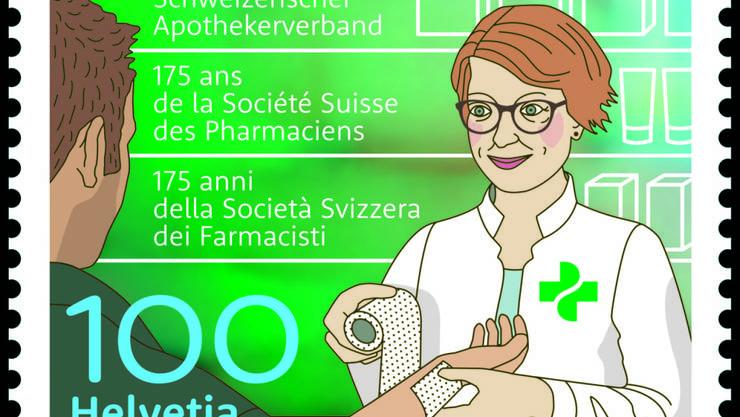 Die Sondermarke zeigt eine Apothekerin im Kundenkontakt. Den Wettbewerb für die Kreation der Jubiläumsbriefmarke haben die Gestalterinnen Julia Reichle und Maria Pelosi aus Luzern gewonnen.