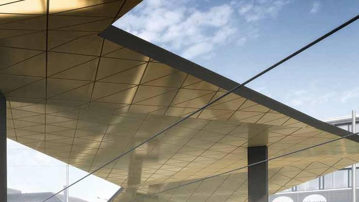 Ein «Flügel»-Dach soll Passagiere vor dem Wetter schützen.