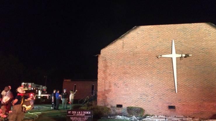 Stand in Flammen: Die Methodistenkirche Mount Zion in Greeleyville. Das Gotteshaus war bereits 1995 Ziel eines Brandanschlages (Archiv)
