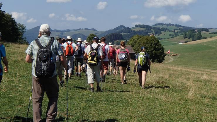 69 Wanderinnen und Wanderer starteten am Morgen in Ramiswil zur Königsetappe nach Aedermannsdorf.