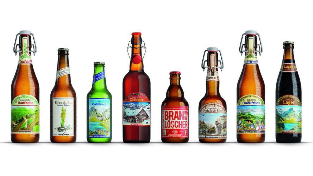 8 von insgesamt 28 Biersorten der Brauerei Locher. (© Brauerei Locher AG)