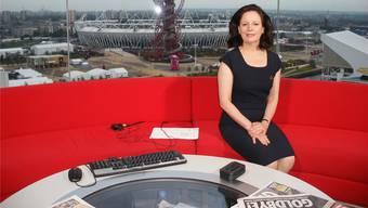 Cornelia Meyer in einem Studio der BBC, wo sie zweimal pro Monat als Wirtschaftspresse-Expertin zu sehen ist.