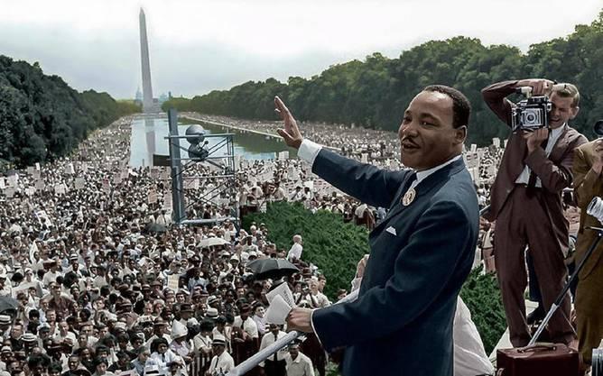 «I have a dream» auf den Stufen des Lincoln Memorial: Martin Luther King hält seine wieder viel zitierte Rede.
