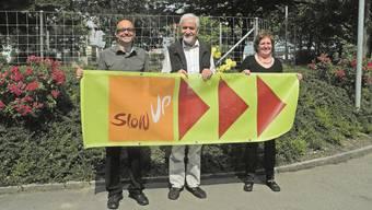 Sie laden zum slowUp Hochrhein 2014 ein: Wendel Hilti, Geri Hirt und Helene Häseli (von links). stg