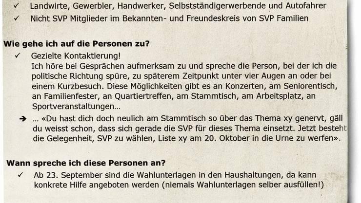 «Ich spreche die Person zu einem späteren Zeitpunkt unter vier Augen an»: SVP-Merkblatt an ihre 1000 Wahlbotschafter.