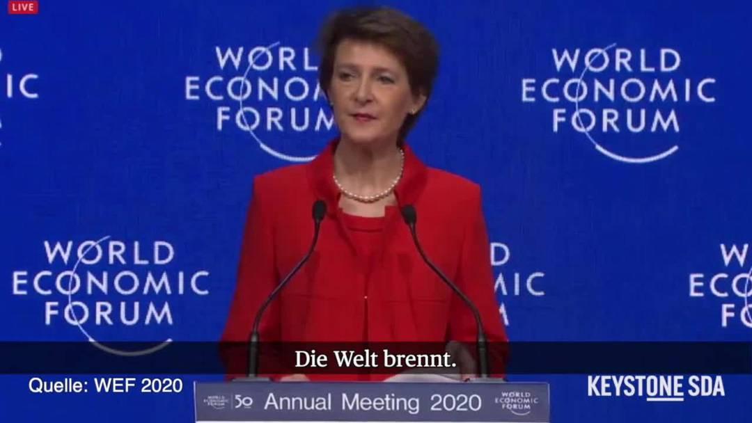 Bundespräsidentin Sommaruga warnt am WEF vor Klimakatastrophe