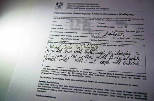 Das Dokument, mit dem alles begann: Hiermit wird T. fürsorgerisch untergebracht.