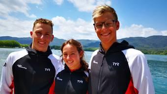 Federico Salghetti, Samira Arnold und David Radam (v.r.n.l.): Die Aarefische, die an den Open-Water-Meisterschaften in Banyoles teilnahmen.