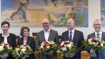 Ab Juli regieren diese fünf das Baselbiet: Bildungsdirektorin Monica Gschwind (FDP), neu-Regierungsrätin Kathrin Schweizer (SP), Sicherheitsdirektor Isaac Reber (Grüne), Finanzdirektor Anton Lauber (CVP) und Volkswirtschafts- und Gesundheitsdirektor Thomas Weber (SVP).