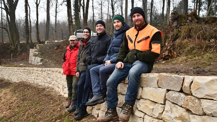 24 Meter lang und einen Meter breit ist die neuste Trockensteinmauer am Bruggerberg. Von links: Markus Ottiger (Förster Brugg), Bernhard Barmet (Projektleiter Stadt Brugg), Reto Wettstein (zuständiger Stadtrat Brugg), Christian Rechsteiner (Projektleiter Kanton Aargau) und Albert von Felten (Geschäftsführer Naturwerk).