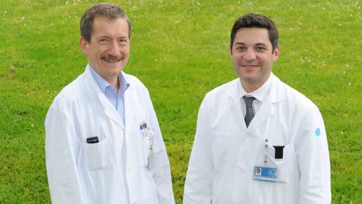 Dr. Clemens Caspar, Leiter Tumorzentrum, PD Dr. Antonio Nocito, Vorsitzender Leitungsgremium Tumorzentrum (Foto Stefan Wey, KSB)
