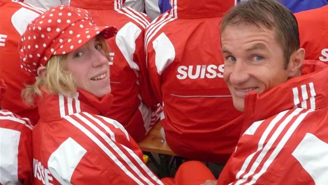 Blick zurück auf eine gemeinsame Zeit: Jörg Hafner (rechts) mit Martina Strähl an der Berglauf-WM 2009 in Österreich.