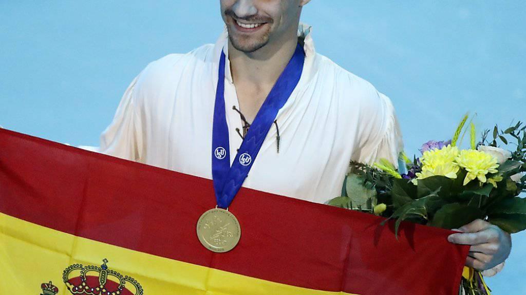 Schlusspunkt einer grossen Karriere: Der Spanier Javier Fernandez feiert seinen siebten EM-Titel
