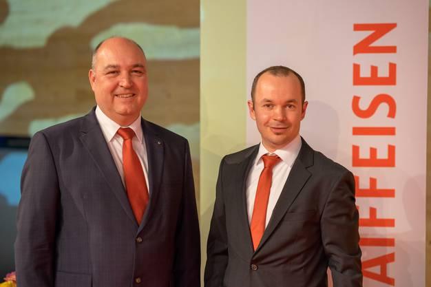 Generalversammlung der Raiffeisenbank Aare-Reuss; Patrick Weber, Vorsitzender der Bankleitung und Rico Herzig, Verwaltungsratspräsident (von Links)