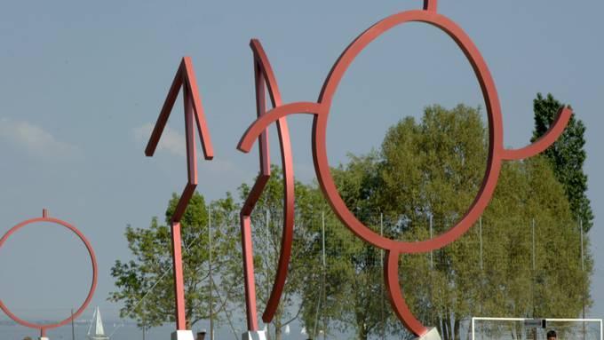 Statt durch einen Zaun getrennt, sind Konstanz und Kreuzlingen seit 2007 durch eine Kunst-Grenze mit Skulpturen des Künstlers Johannes Dörflinger verbunden (Archivbild).